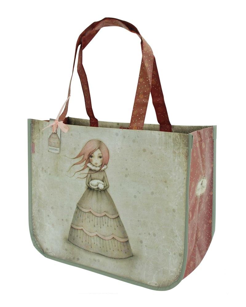 Santoro London - Nákupní taška - Mirabelle - Traveller's Rest Šedá, bledě růžová;Šedá, bledě růžová