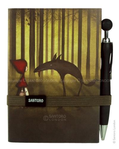 Santoro London - Zápisník s Propiskou - Little Red Riding Hood Šedá, béžová, růžová;Šedá, béžová, růžová