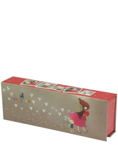 Santoro London - Pouzdro na tužky - Kori Kumi - Gift of Friendship Kávová, modrá, červená;Kávová, modrá, červená