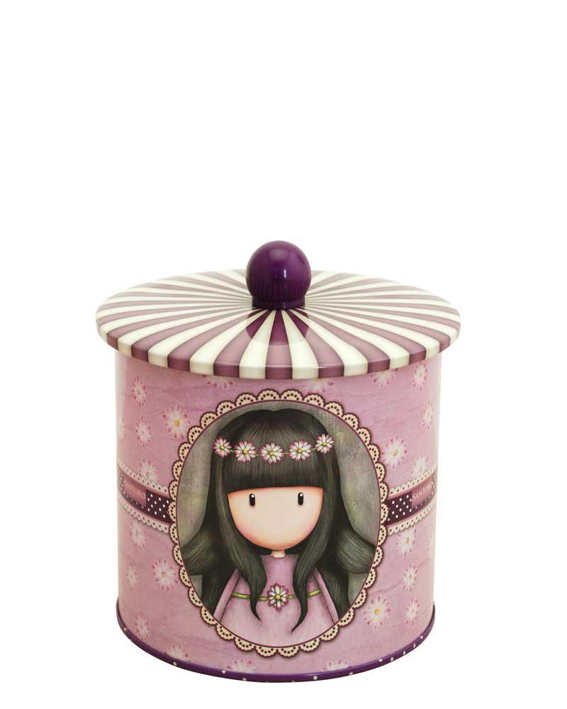 Santoro London - Plechová krabička sušenky - Gorjuss - Oops-a-Daisy Vínová;Vínová