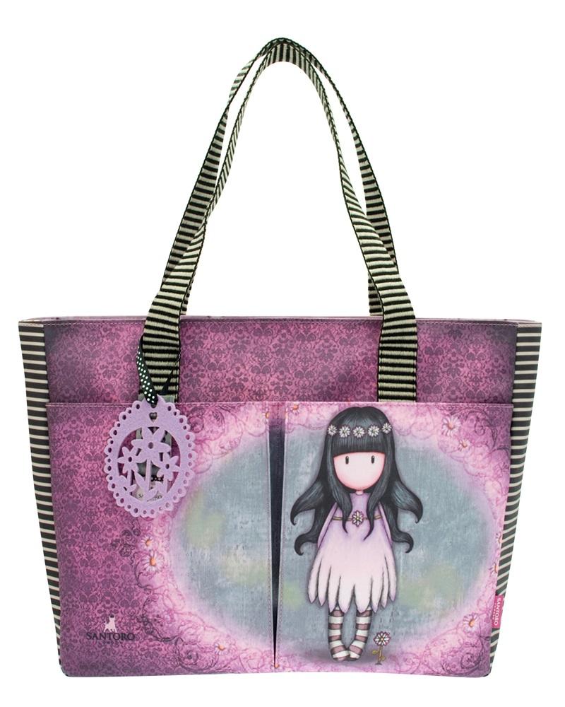 Santoro London - Nákupní taška s kapsami - Gorjuss - Oops a Daisy Fialová, šedá;Fialová, šedá