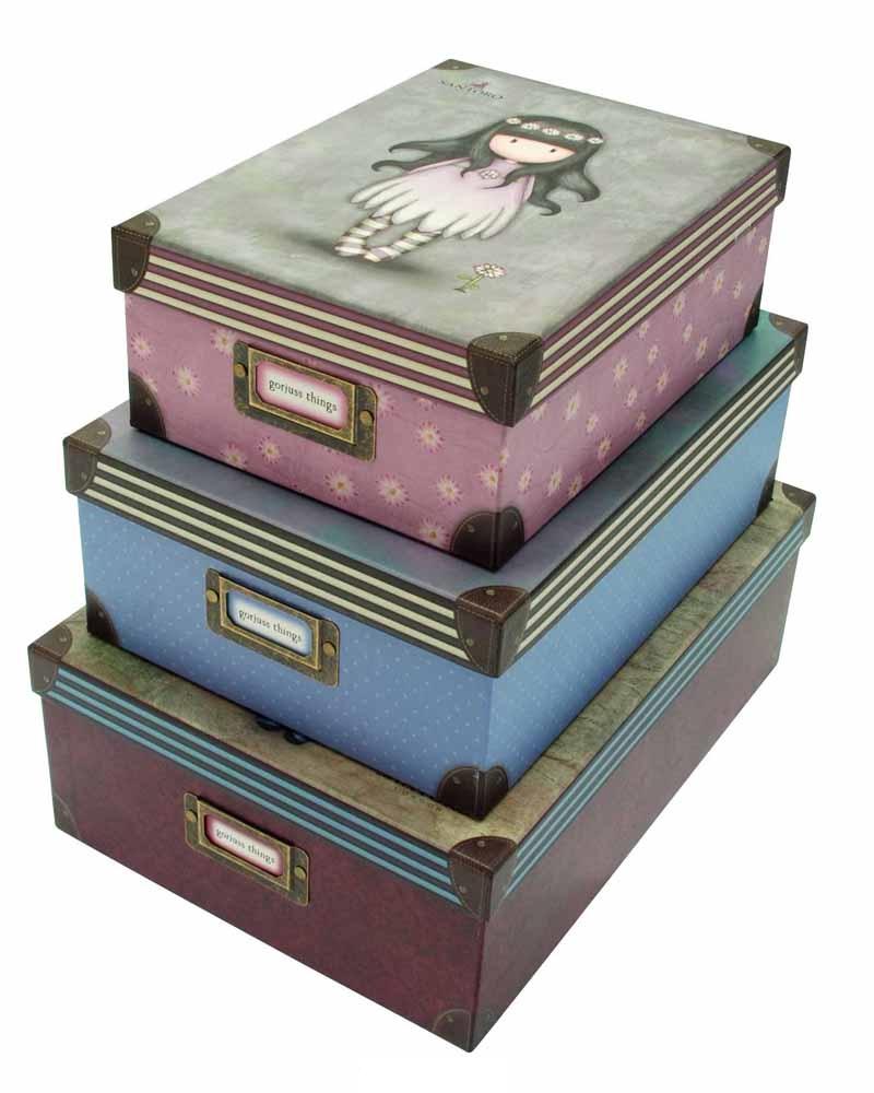 Santoro London - Sada 3 obdélníkových úložných boxů - Gorjuss