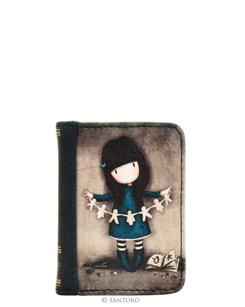Santoro London - Peněženka na mince - Gorjuss - I Found my Family in a Book Modrá, černá, šedivá;Modrá, černá, šedivá