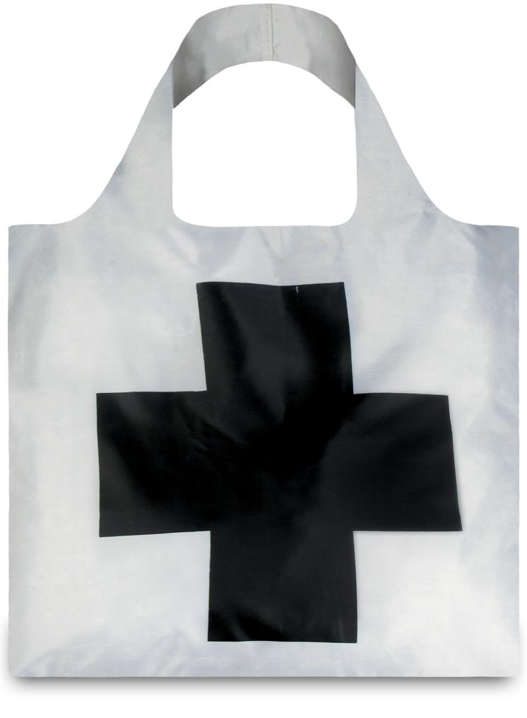 LOQI - Skládací Nákupní Taška - Museum - Black Cross