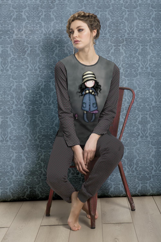 Santoro London - Dámské pyžamo - Gorjuss - Toadstools 2 Tmavě šedá až černá;Tmavě šedá až černá