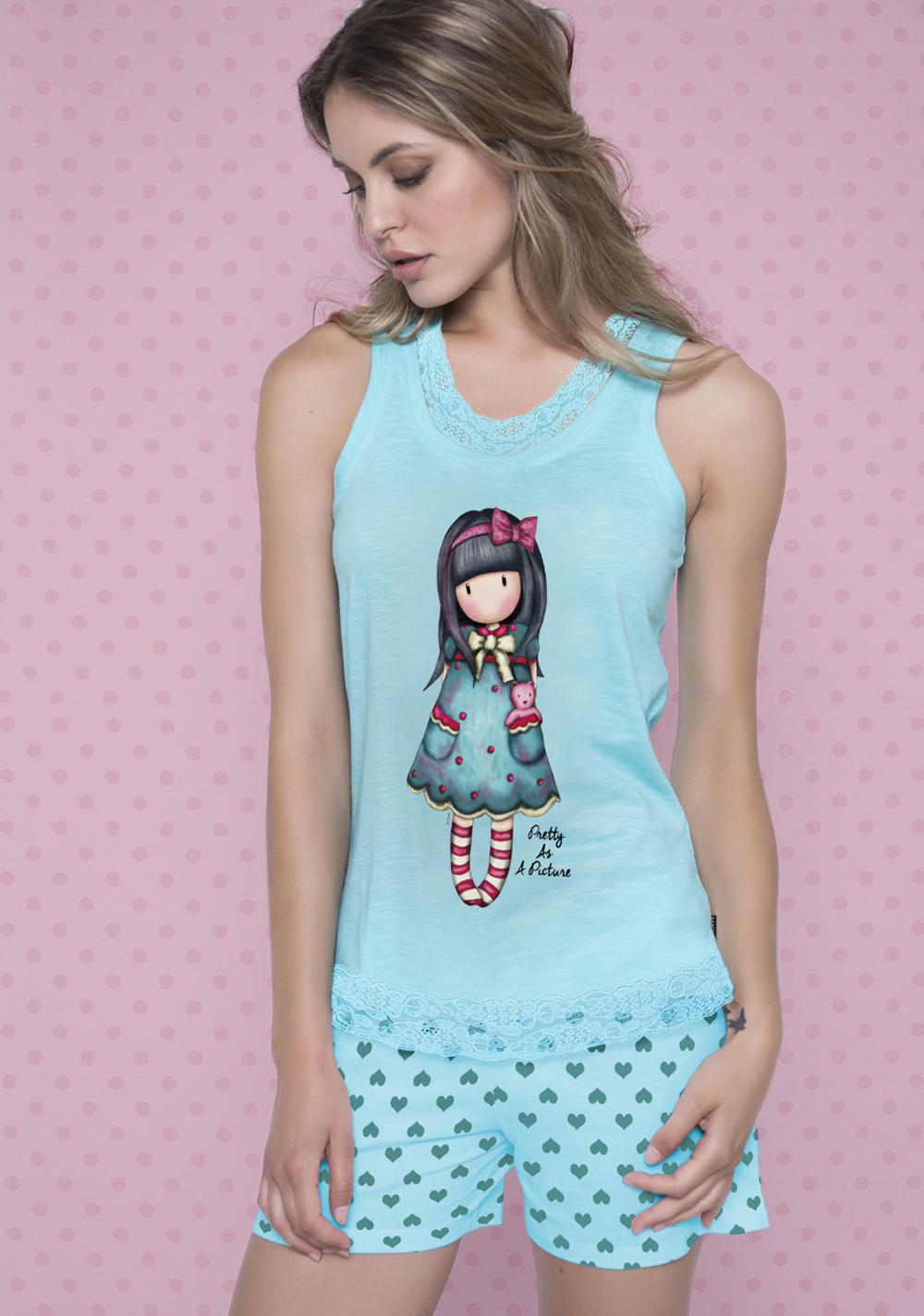 Santoro London - Dámské letní pyžamo - Gorjuss - Pretty as a Picture Modrá