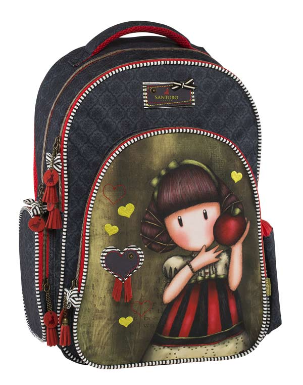 Santoro London - Batoh školní 18l - Gorjuss - Dear Apple Šedomodrá, hnědozelená, červená;Šedomodrá, hnědozelená, červená