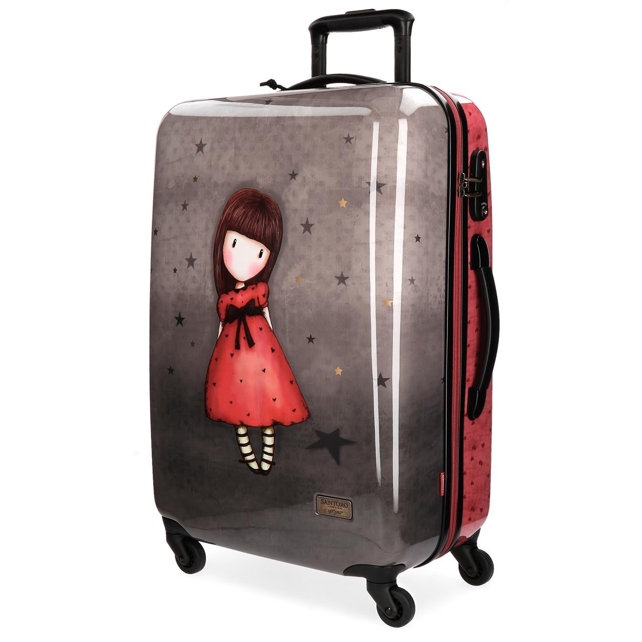 Santoro London - Cestovní kufr na kolečkách 64l - Gorjuss - Black Star - 45x67x26 cm