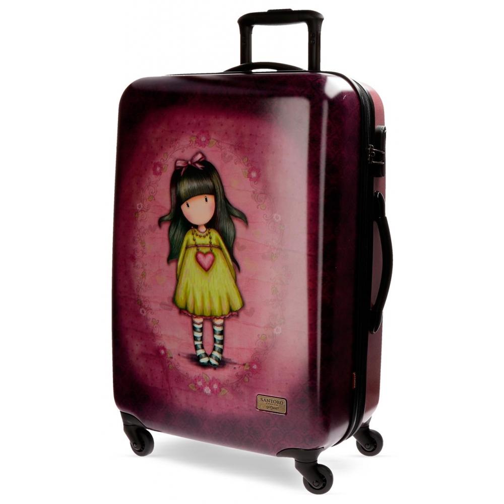 Santoro London - Cestovní kufr na kolečkách 64l - Gorjuss - Heartfelt - 45x67x26 cm Modrá, víno