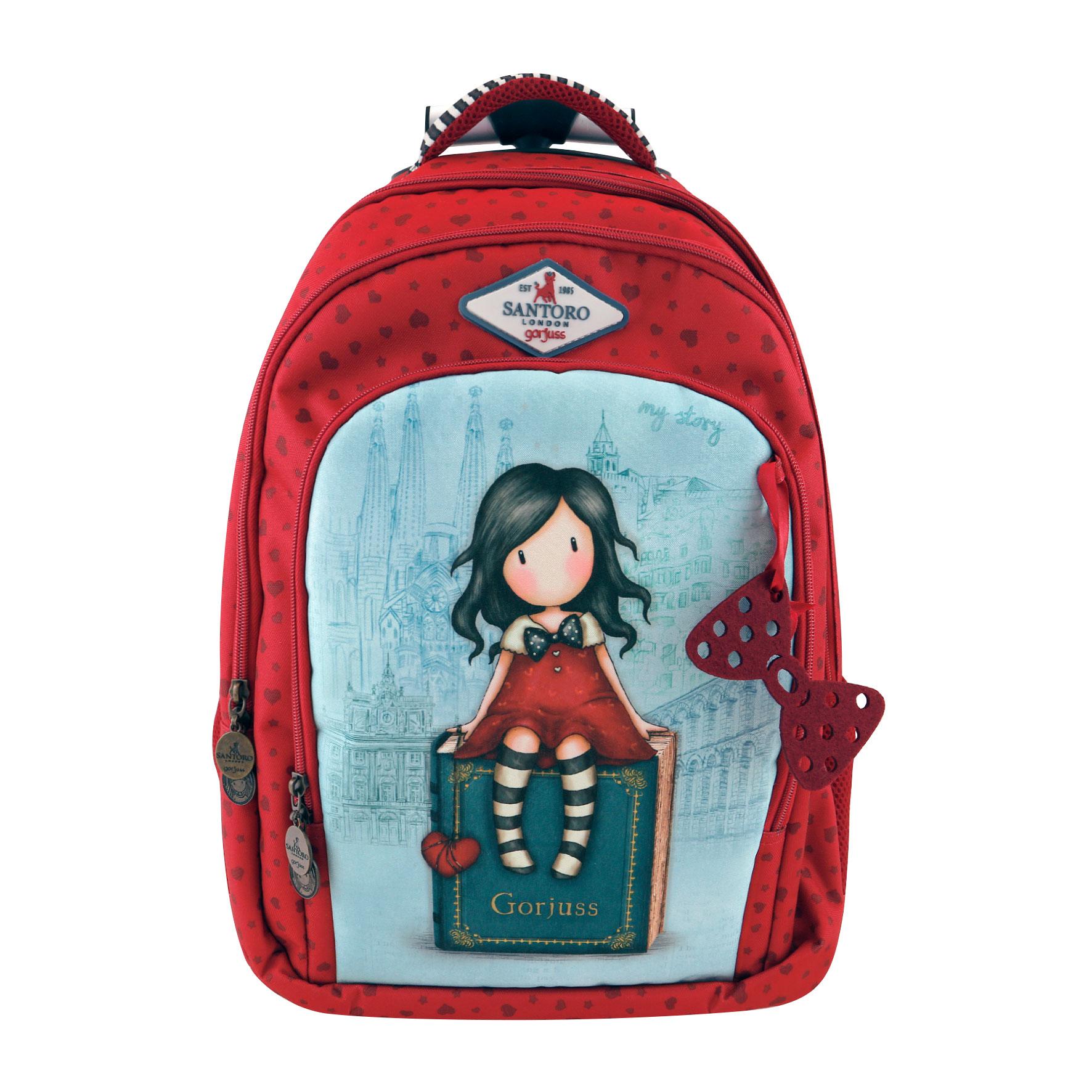 Santoro London - Batoh školní na kolečkách 31l - Gorjuss Cityscape - My Story Červená, modrá;Červená, modrá