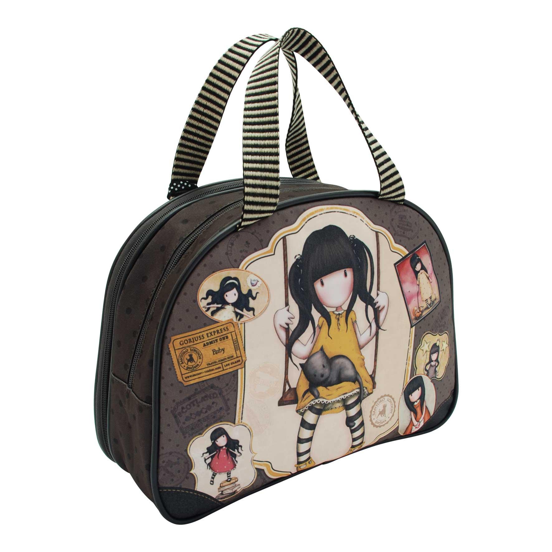 Santoro London - Kosmetická taška (velká) - Gorjuss - Ruby (Yellow) Hnědá, béžová, žlutá;Hnědá, béžová, žlutá