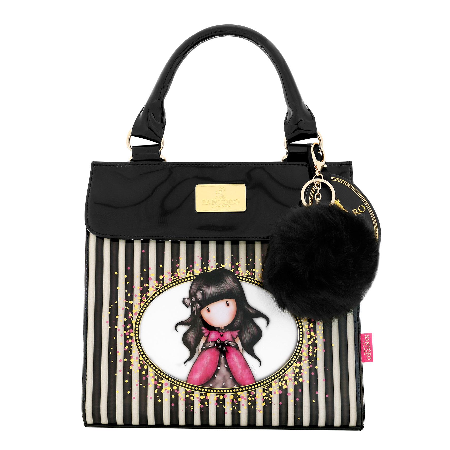Santoro London - Kabelka do Ruky (menší) - Gorjuss Stripes - Ladybird Černá, bílá, růžová;Černá, bílá, růžová