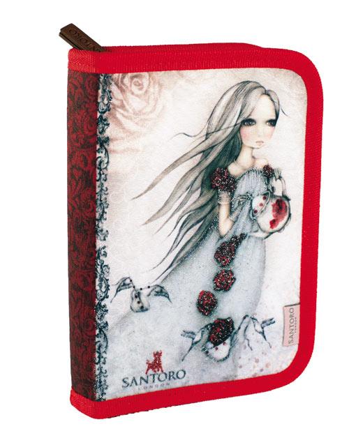 Santoro London - Školní pouzdro - Mirabelle - Rose Tea Červená, šedá;Červená, šedá