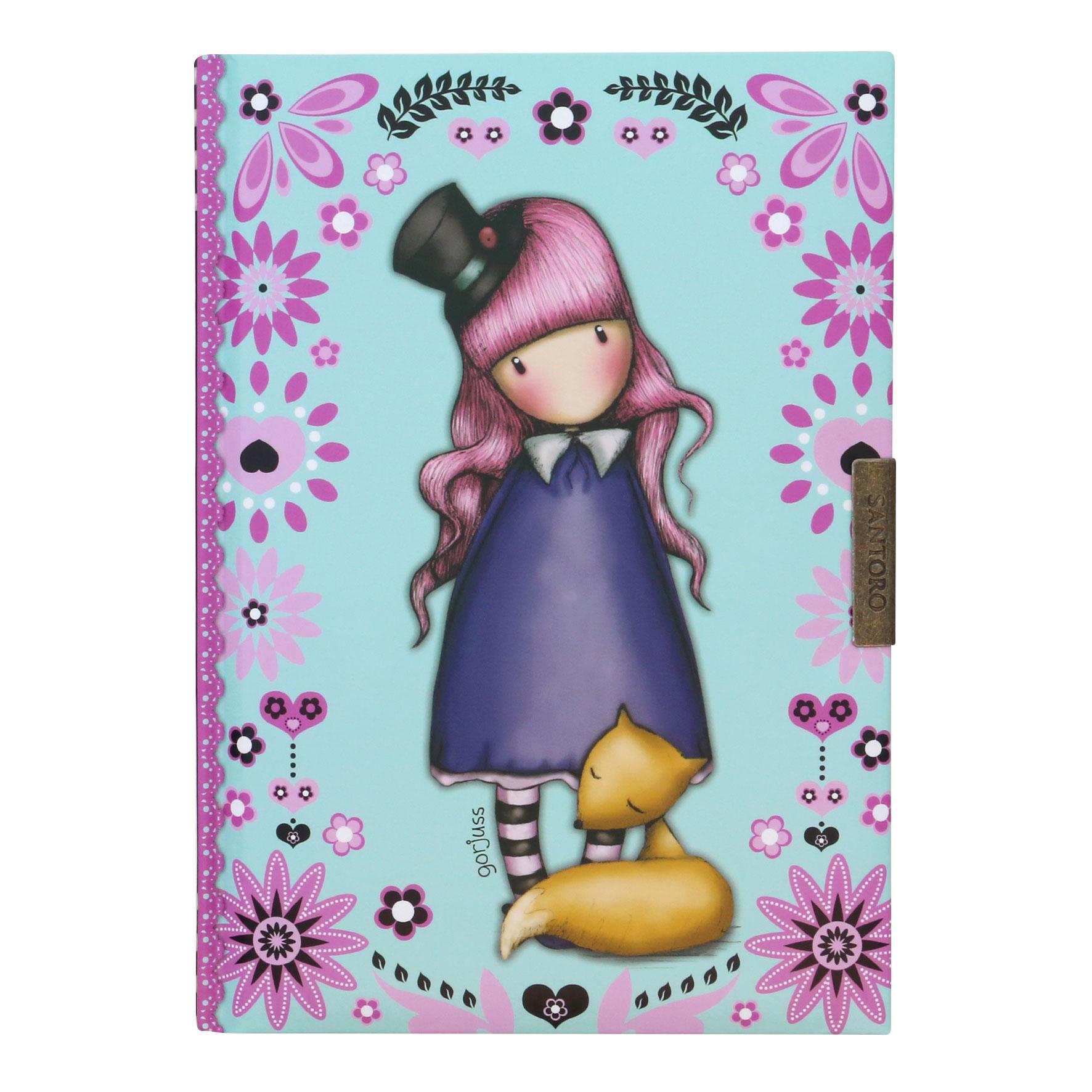 Santoro London - Zápisník B6 linkovaný se Zámkem - Gorjuss Fiesta - The Dreamer Světle modrá, růžová, fialová
