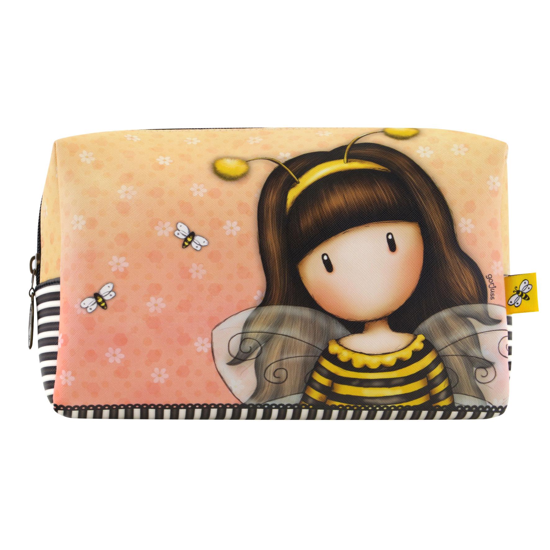 Santoro London - Kosmetická taška (velká) - Gorjuss - Bee-Loved (Just Bee-Cause) Černá, žlutá, béžová