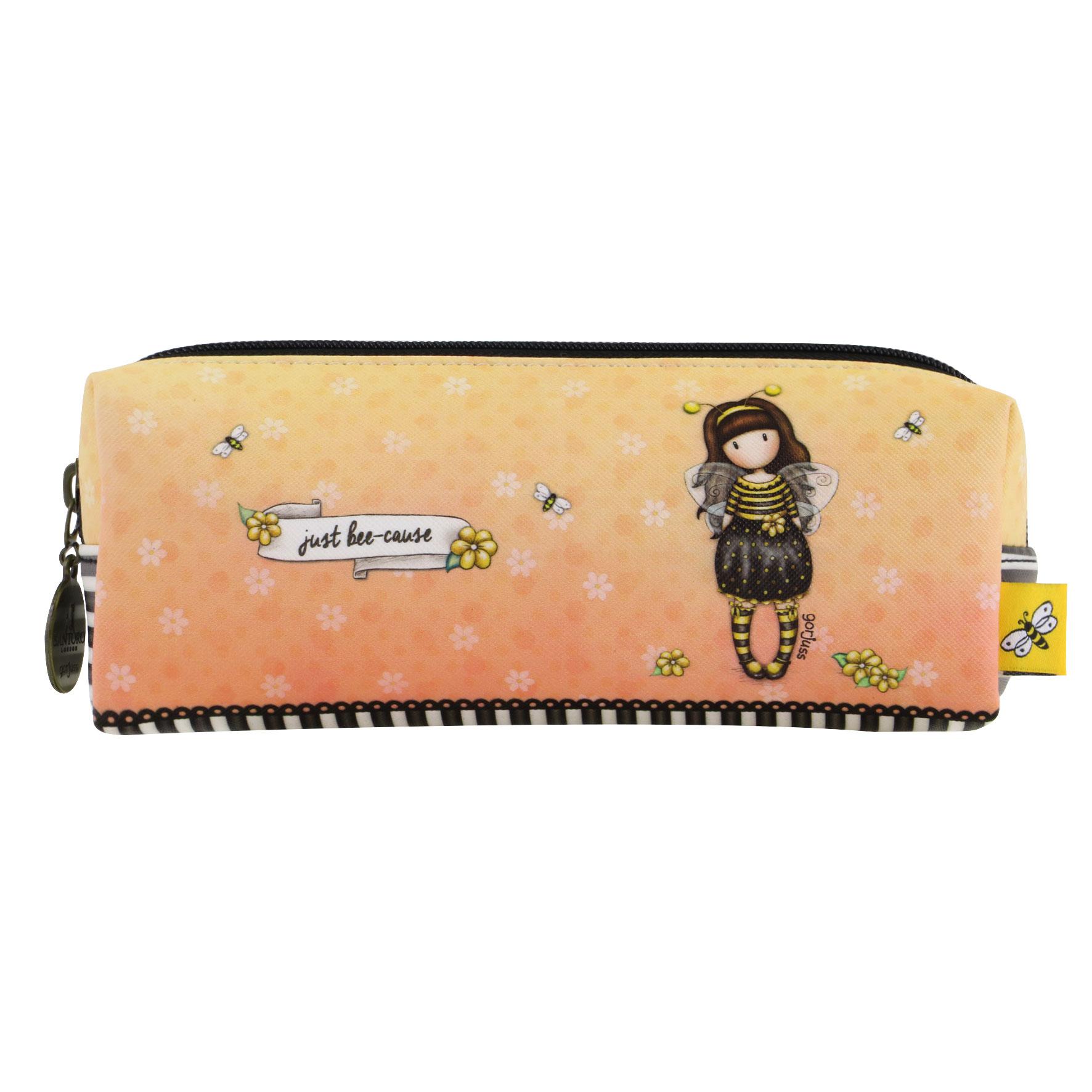 Santoro London - Pouzdro/Kosmetická taška - Gorjuss - Bee-Loved (Just Bee-Cause) Černá, žlutá, béžová