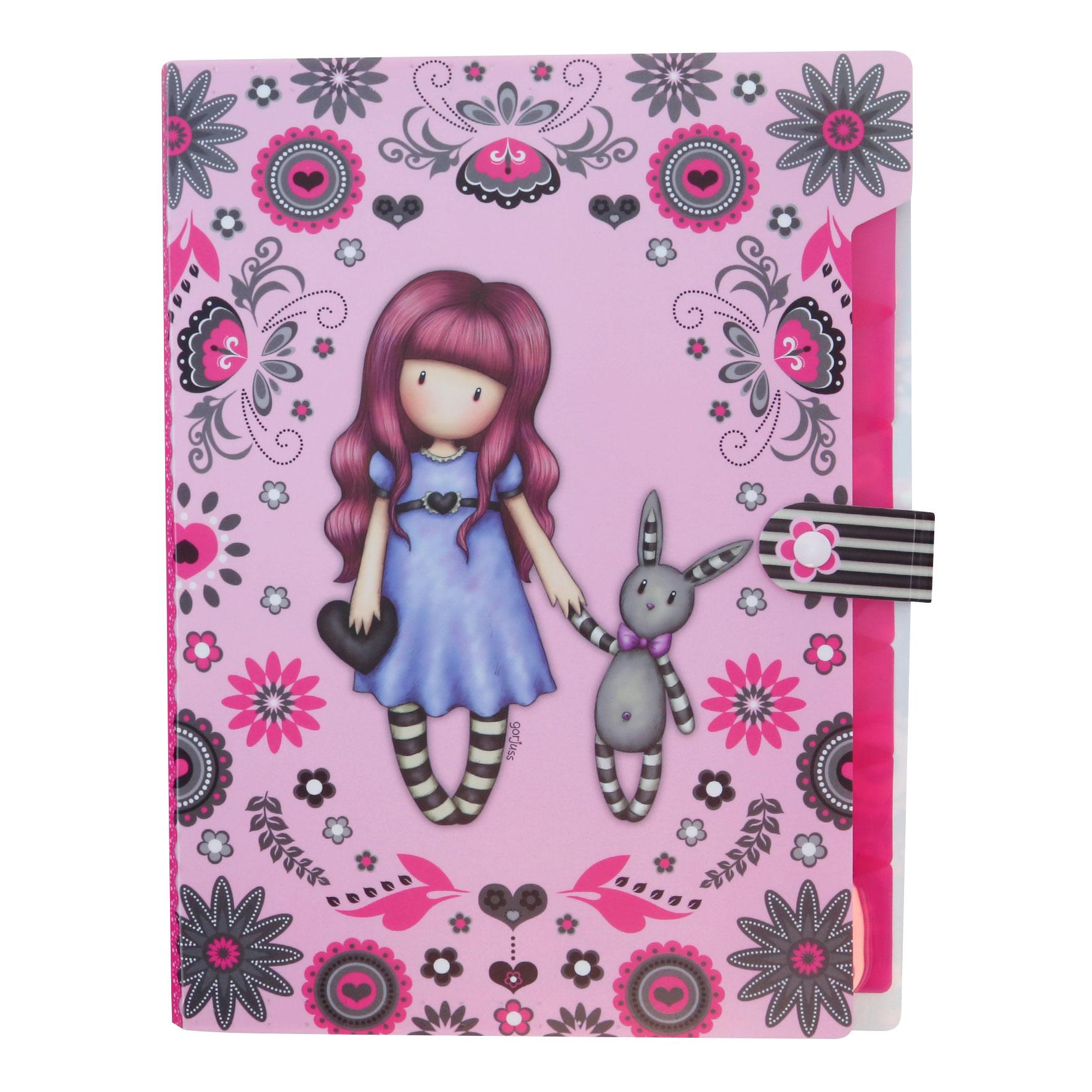 Santoro London - Desky A4 - Gorjuss Fiesta - My Gift To You Růžová, fialová, tyrkysová